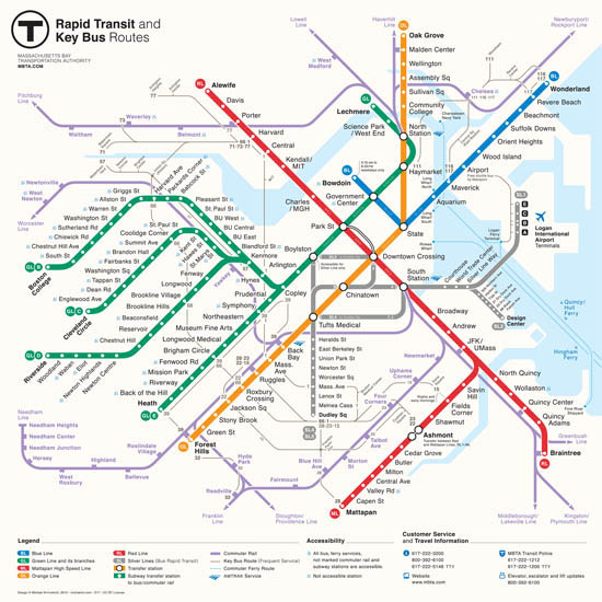 "The new map, designed by ""New Perspectives"" redesign compeition winner Mikheil Krivishvili, will be implimented on an ""as needed basis,"" according to an MBTA statement, and includes new stations on the Fairmont and commuter rails and new Green and Silver Line stations. Photo Courtesy/Massachusetts Bay Transit Authority."