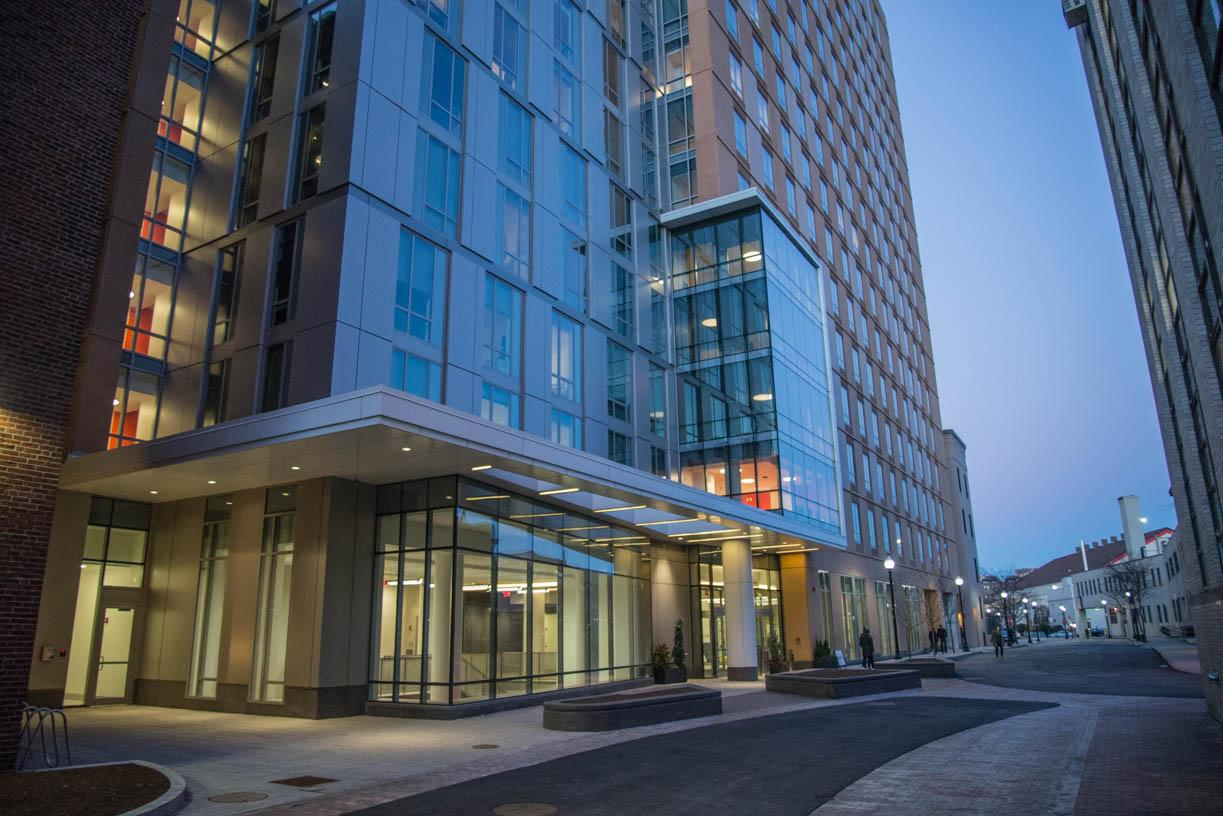 East+Village+is+the+newest+dorm+on+Northeastern%27s+campus%2C+standing+17+stories+tall+on+Saint+Botolph+Street.