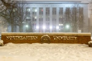 Senior electrical and computer engineering major Zach Fox captured this photo at 2 a.m. on the morning of Tuesday, Jan. 27, 2015 in front of the Krentzman Quad. Hours before, the blizzard known as Juno began dumping an estimated 2 to 3 feet of snow on the greater Boston area.