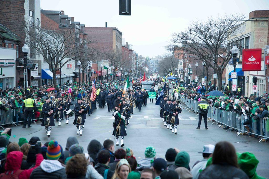 A+band+with+bagpipes+and+drums+plays+during+Southie%27s+annual+parade+on+March+15.+