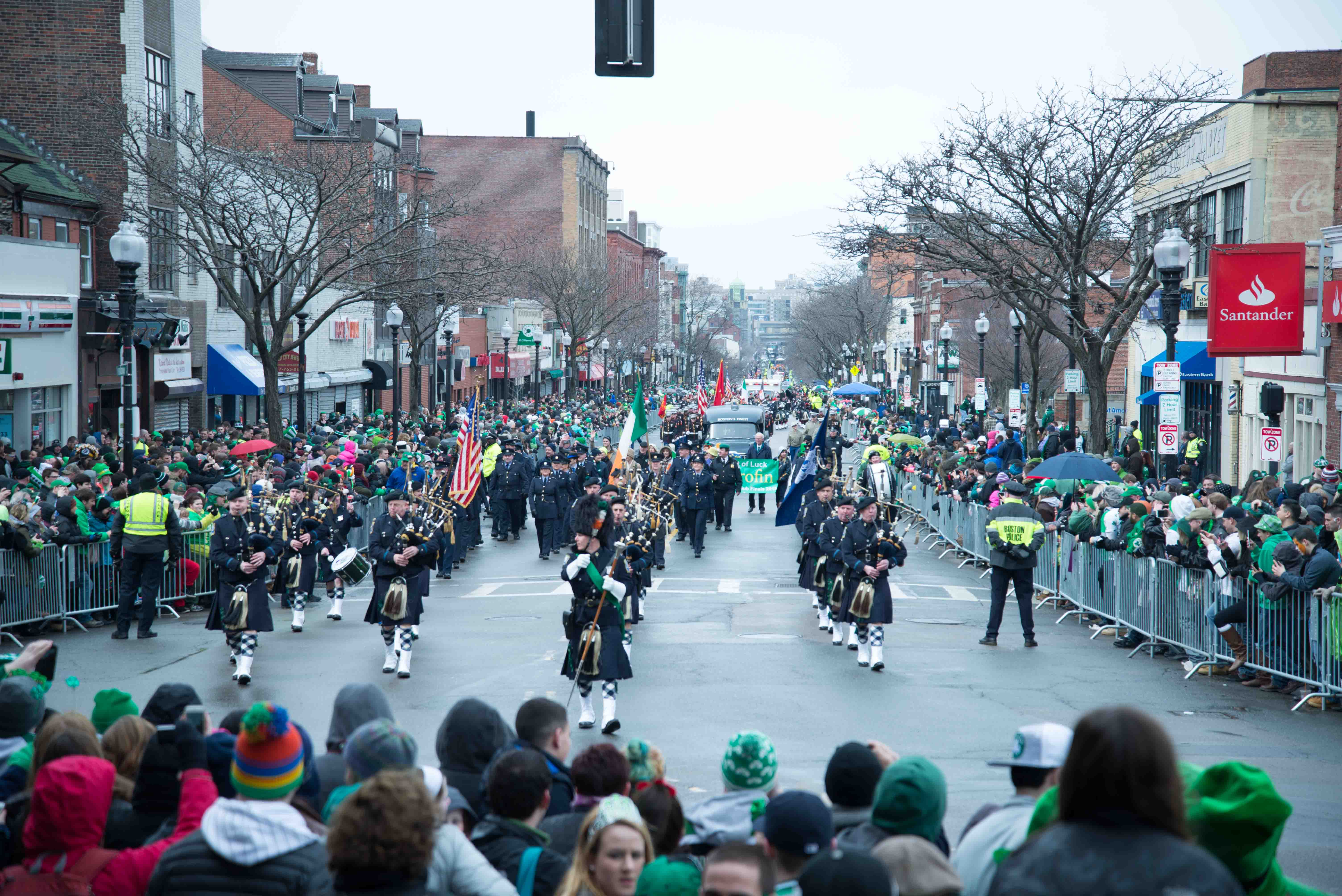 A band with bagpipes and drums plays during Southie's annual parade on March 15.
