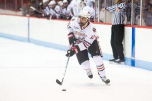 Six freshmen score in hockey exhibition game