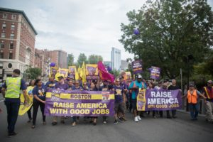Sen. Warren rallies with union janitors for wage increases, benefits