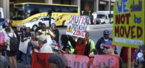 Residents protest city housing policies, NU dorm