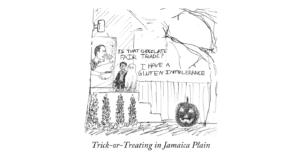 Cartoon: Trick-or-treating in Jamaica Plain