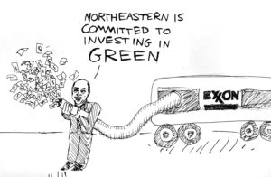 "Cartoon: Northeastern committed to investing in ""green"""