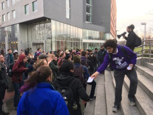 Dining hall workers, students protest for sanctuary campus
