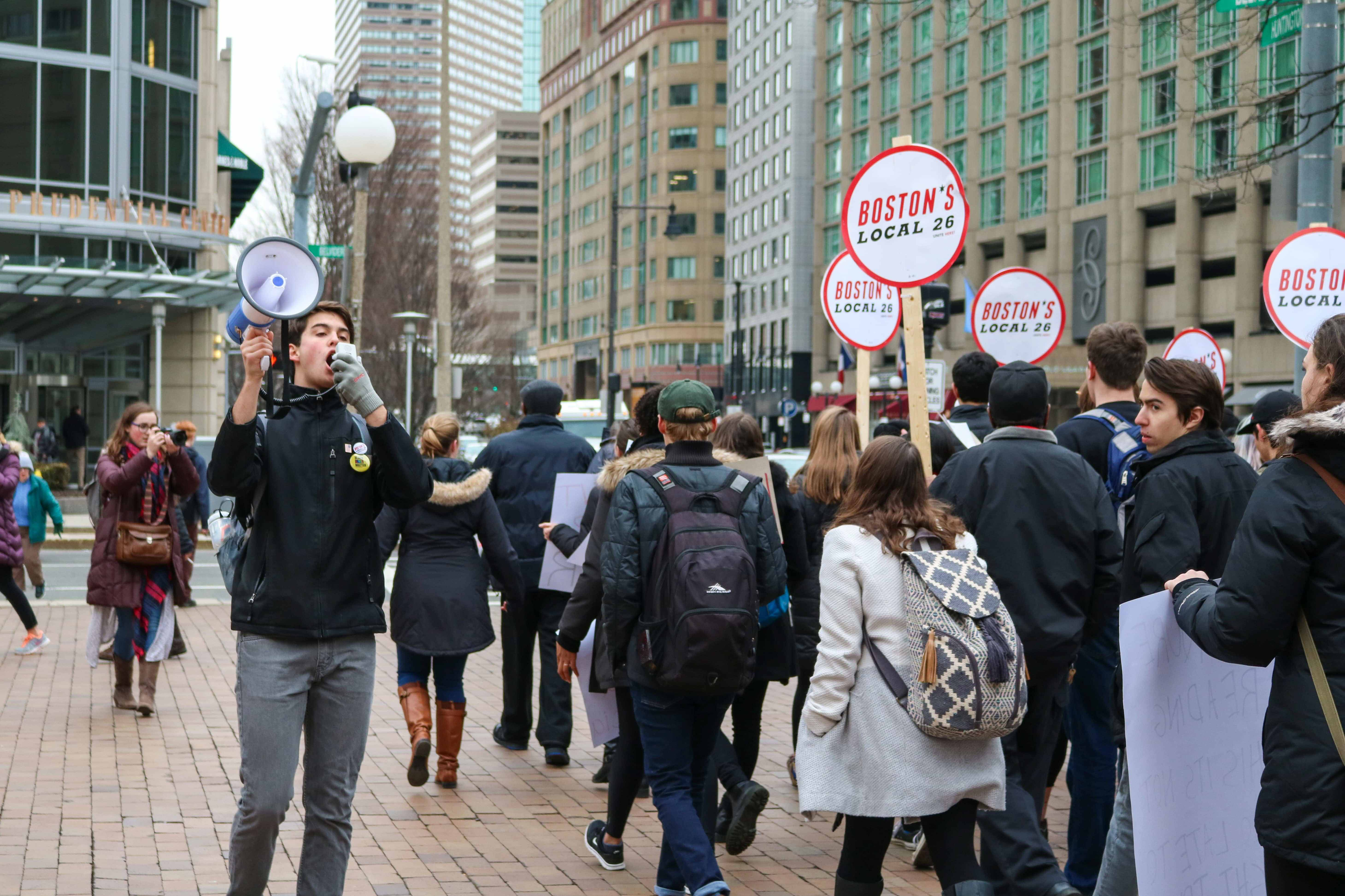HOWL+joins+to+march+with+Boston%27s+Local+26+in+front+of+the+Prudential+Center+on+Huntington+Avenue.