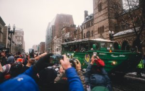 Thousands line parade route to celebrate Patriots' Super Bowl win