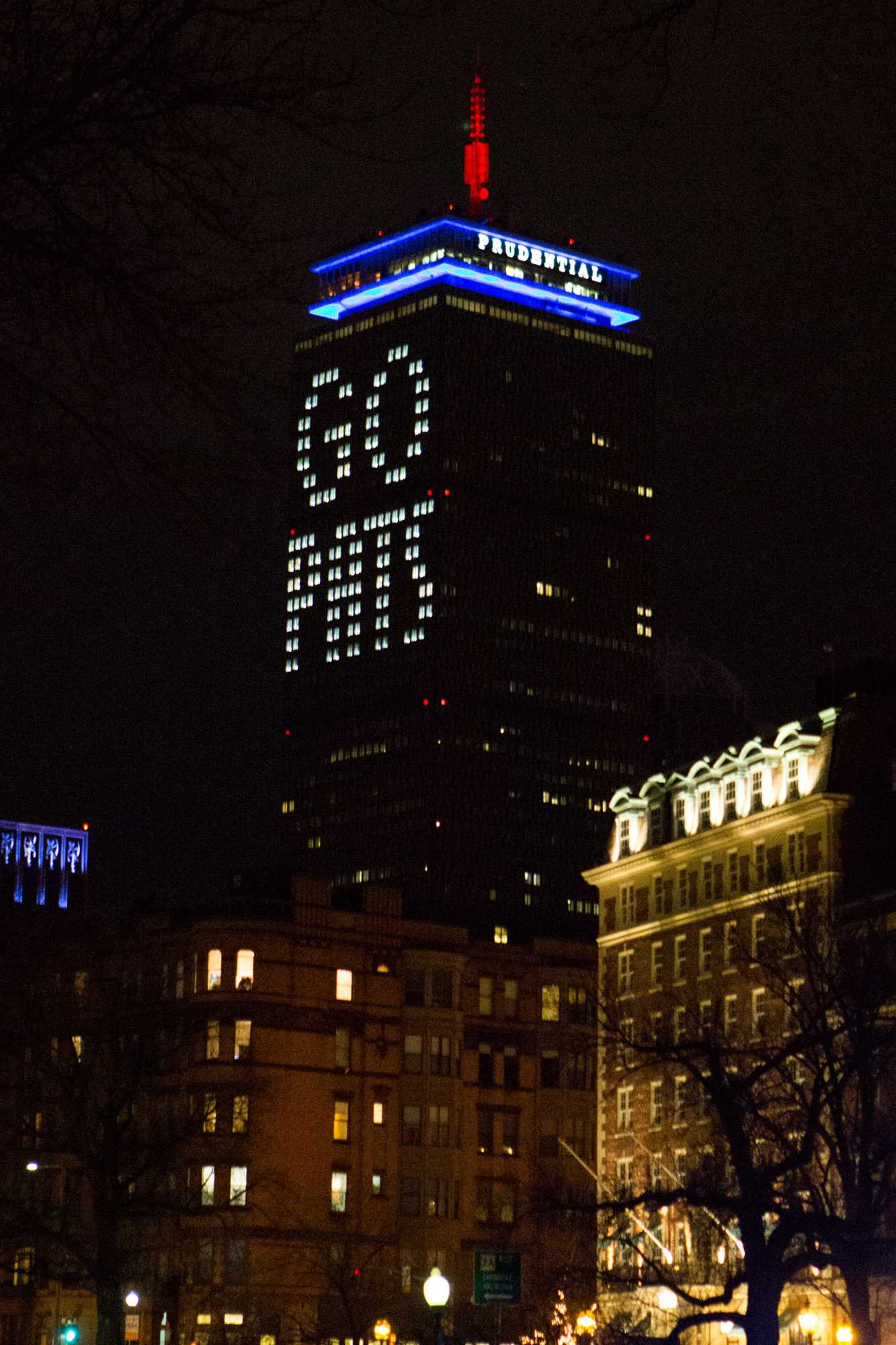 The+Prudential+Center+shows+its+support+of+the+Patriots+after+the+they+win+Super+Bowl+LI.