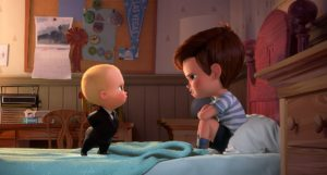 """Boss Baby (Alec Baldwin) confronts his brother Tim (Miles Christopher Bakshi) in DreamWorks' """"The Boss Baby.""""/Photo courtesy DreamWorks Animation"""