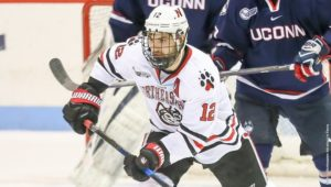 Zach Aston-Reese leads the nation in points per game. / Photo courtesy Jim Pierce, Northeastern Athletics