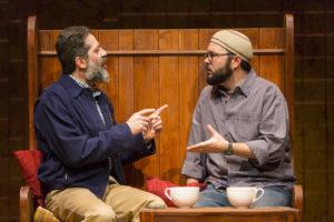 Rom Barkhordar and Joseph Marrella perform in the Huntington Theatre Company's production of