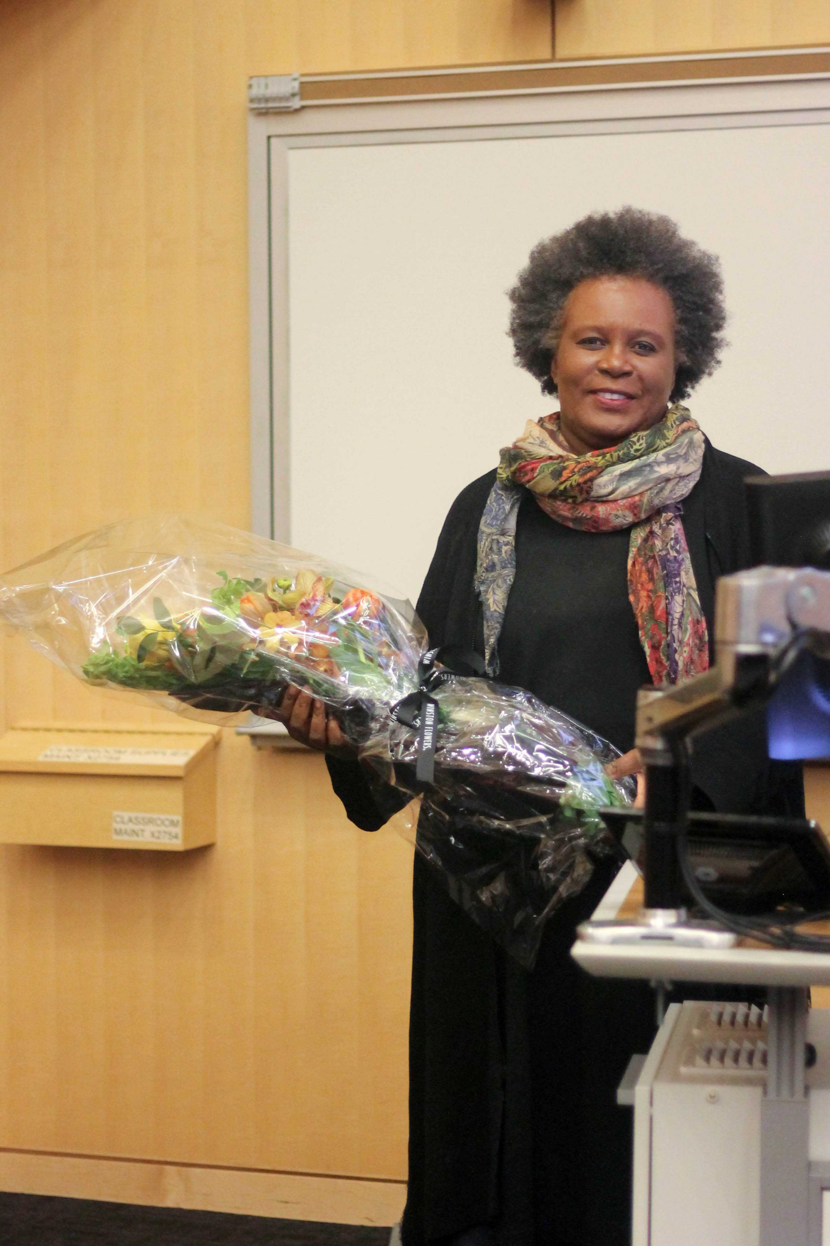 Claudia Rankine, renowned poet and author, spoke to Northeastern students about her life and poetry./Photo by Leila Habib