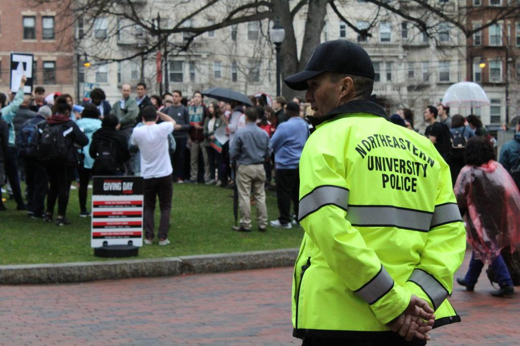 Northeastern University Police Department members received an award for raising more than $2,000 to support veteran readjustment efforts. / Photo by Paxtyn Merten