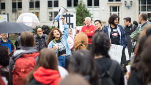 Upcoming dining hall worker contract negotiations spark student-led rally