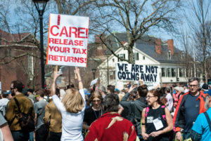 Tax Day protesters in Cambridge call on Trump to release tax returns