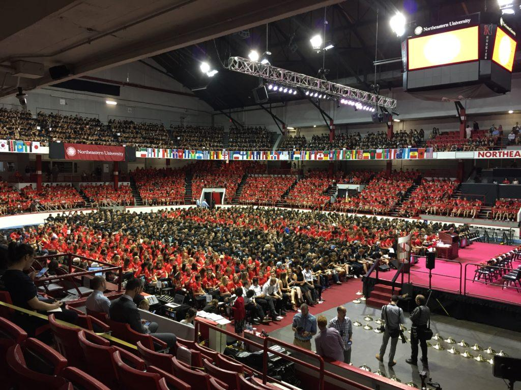 Northeastern%27s+120th+class+waits+for+Convocation+to+begin.+%2F+Photo+by+Glenn+Billman