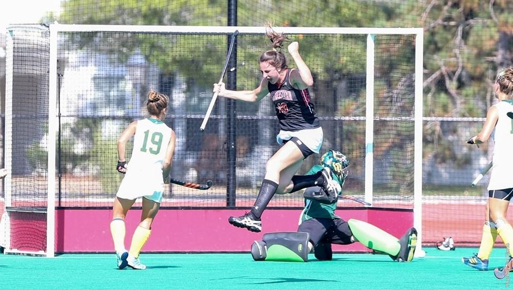 Third-year+forward+Laura+MacLachlan+celebrates+after+scoring+a+goal+against+Vermont.+Photo+courtesy+Jim+Pierce%2C+Northeastern+Athletics