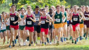 Huskies lead the pack of runners during the teams regular season finale at Central Connecticut State. Photo courtesy Jim Pierce/Northeastern Athletics
