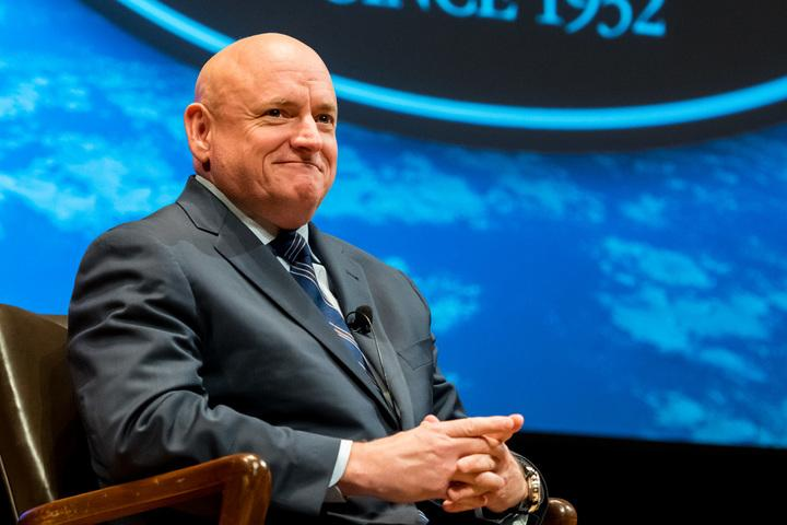 Former astronaut Scott Kelly spoke at the Back Bay Events Center Wednesday about his previous spaceflights and his new memoir.