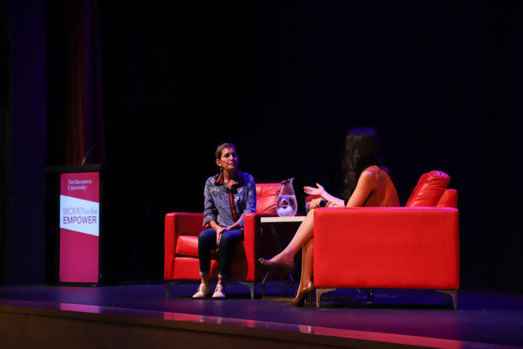 Maureen Chiquet, left, speaks with Linda Pizzuti Henry about her book and career at an event in Blackman Auditorium Monday night. / Photo by Riley Robinson