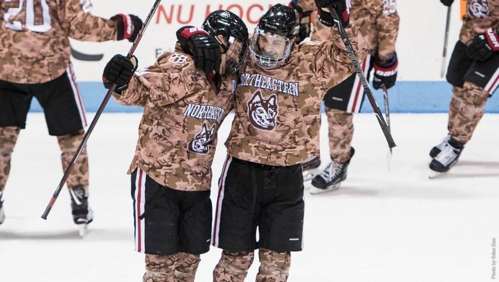 Gaudette, Griffin enjoy multi-goal games as Huskies defeat BU in front of sellout Homecoming crowd