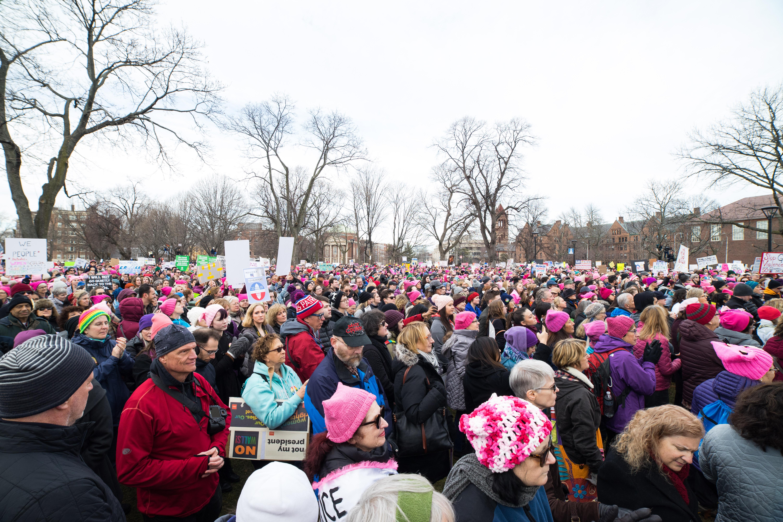 Cambridge police estimate 10,000 people came to Cambridge Common for the Women's March. / Photo by Alex Melagrano.