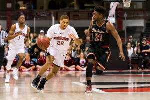 Charleston wins thrilling game at Matthews to pass NU for top CAA spot