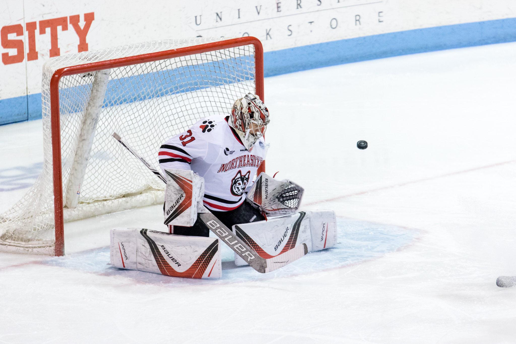 Cayden Primeau, NU's starting goalie, will have his work cut out for him against No. 1 UMass this weekend. File photo by Albert Tamura