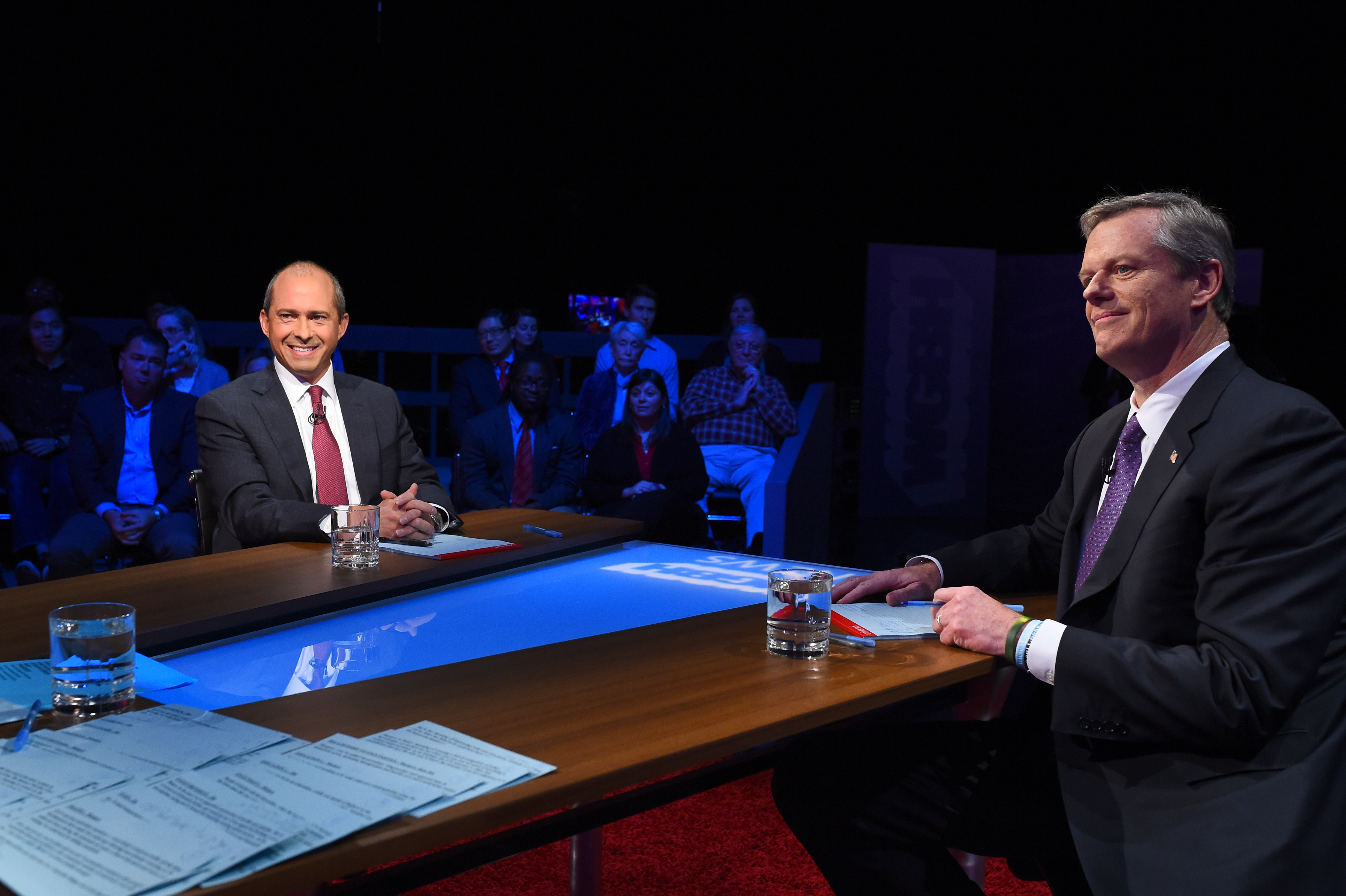 Massachusetts Republican Governor Charlie Baker and Democratic nominee Jay Gonzalez square off in the second 2018 Massachusetts Gubernatorial debate at the WGBH Studios in Brighton. / Photo by Meredith Nierman / WGBH News
