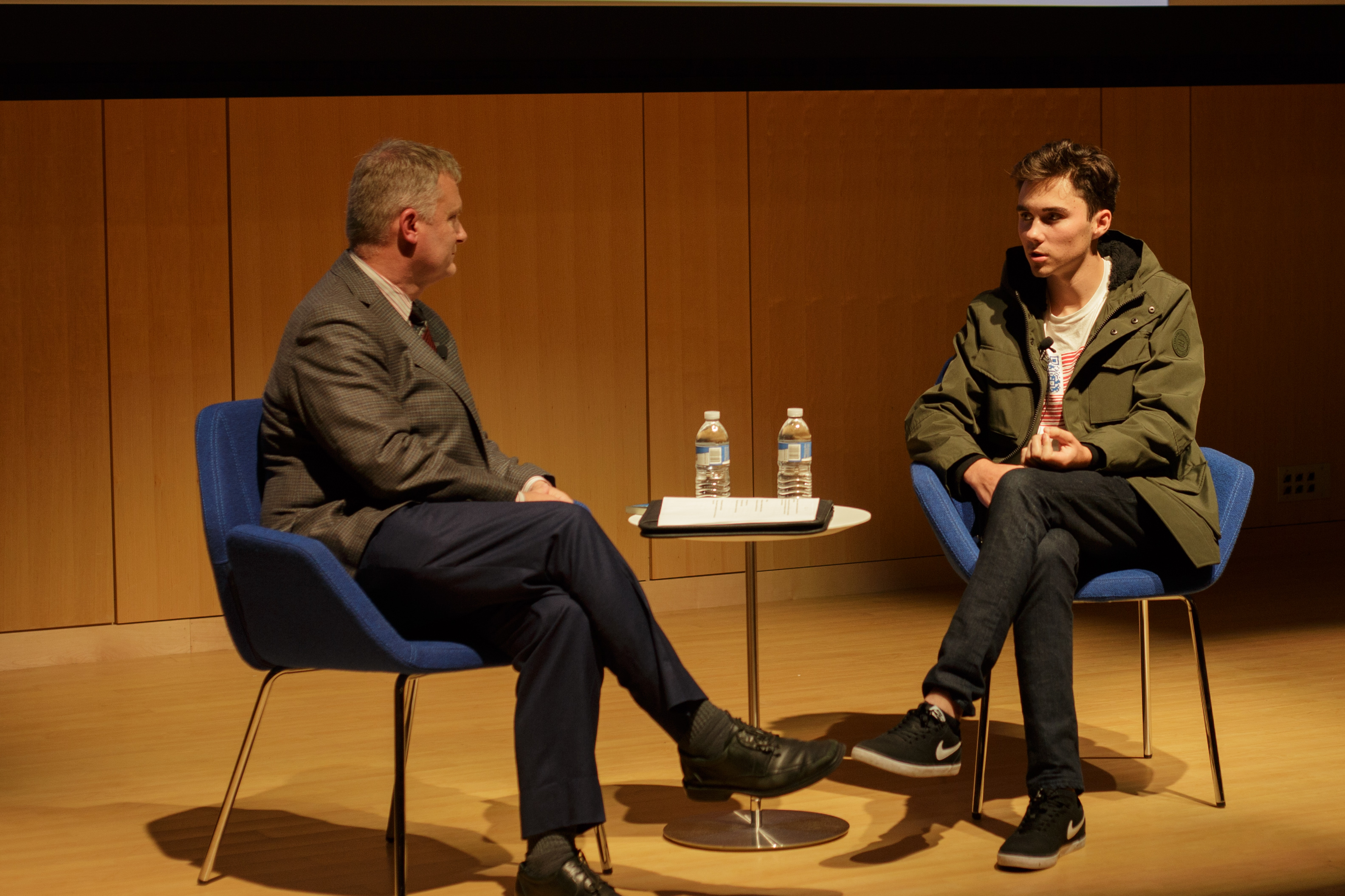 David Hogg speaks at Boston Public Library about gun control. / Photo by Catherine Argyrople