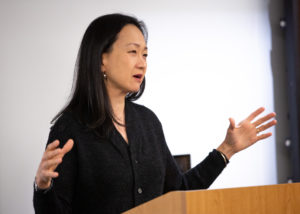 Author Min Jin Lee speaks with students as part of the Visiting Distinguished Writer series