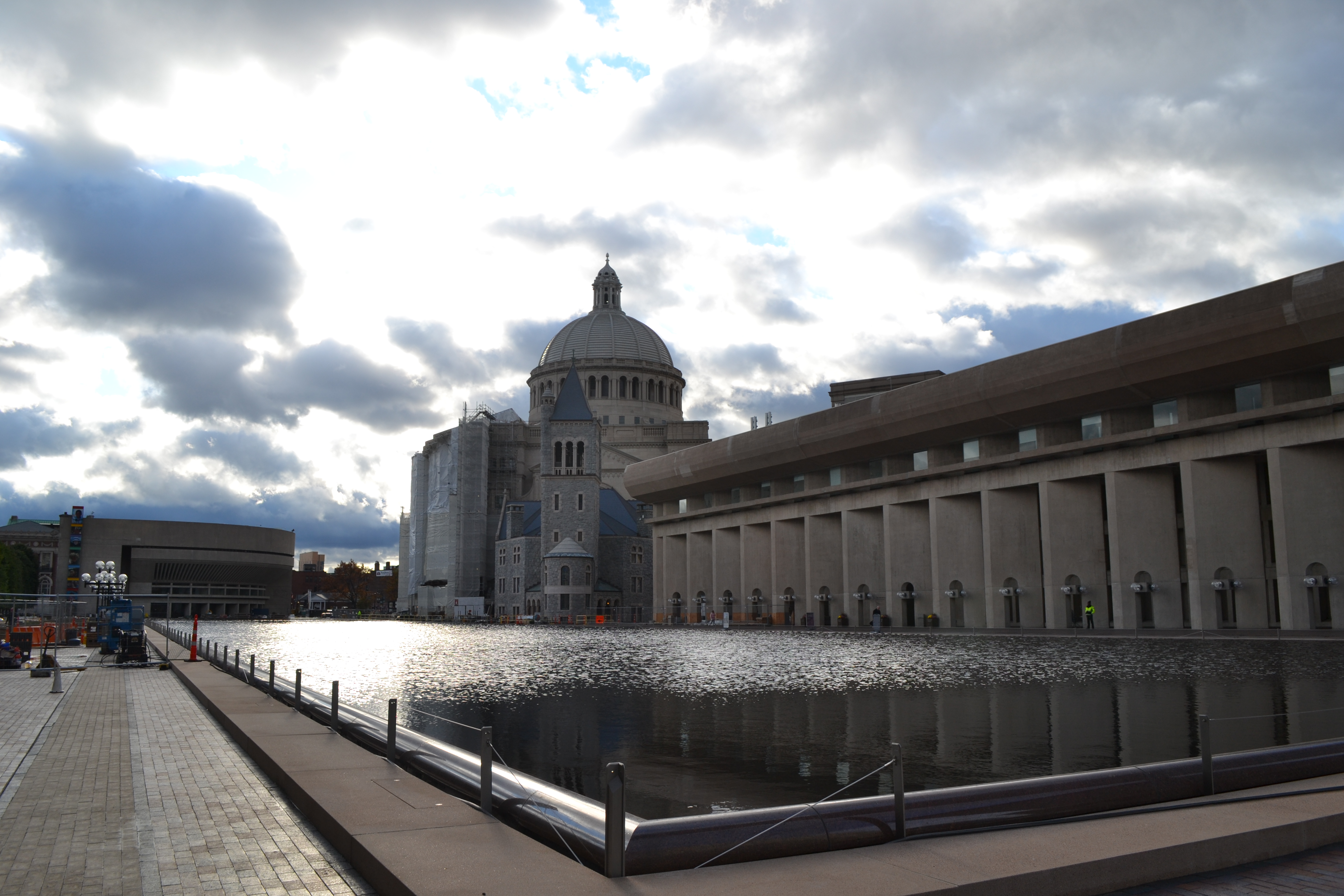 The reflecting pool at the Christian Science Plaza has started flowing again. / Photo by Samantha Barry