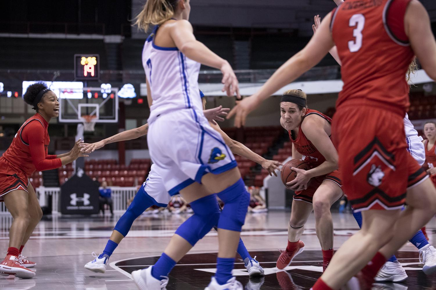 Senior forward Gabby Giacone drives into the paint in a Jan 20 game against Delaware.