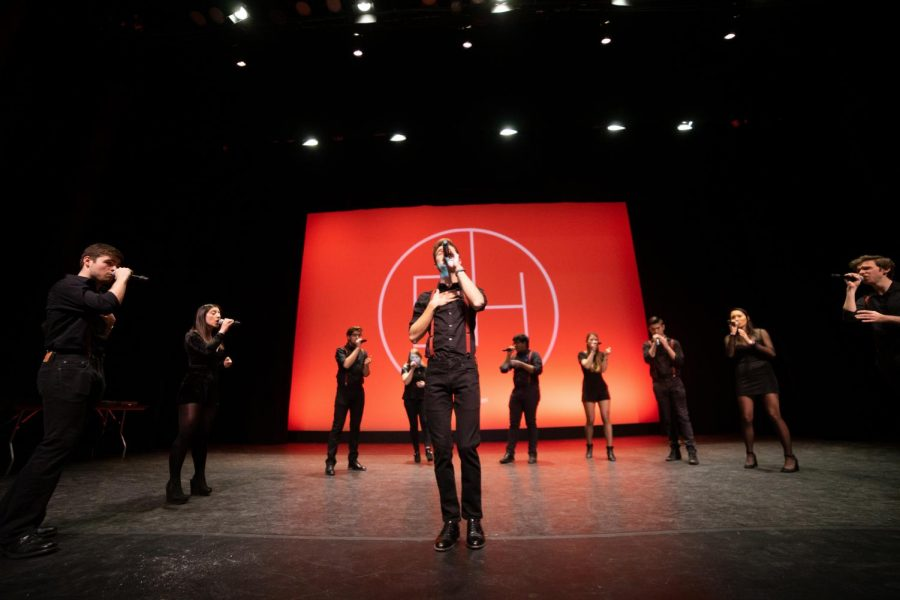 Distilled+Harmony+performs+at+the+2019+AllCappella+concert+in+Blackman+Auditorium.