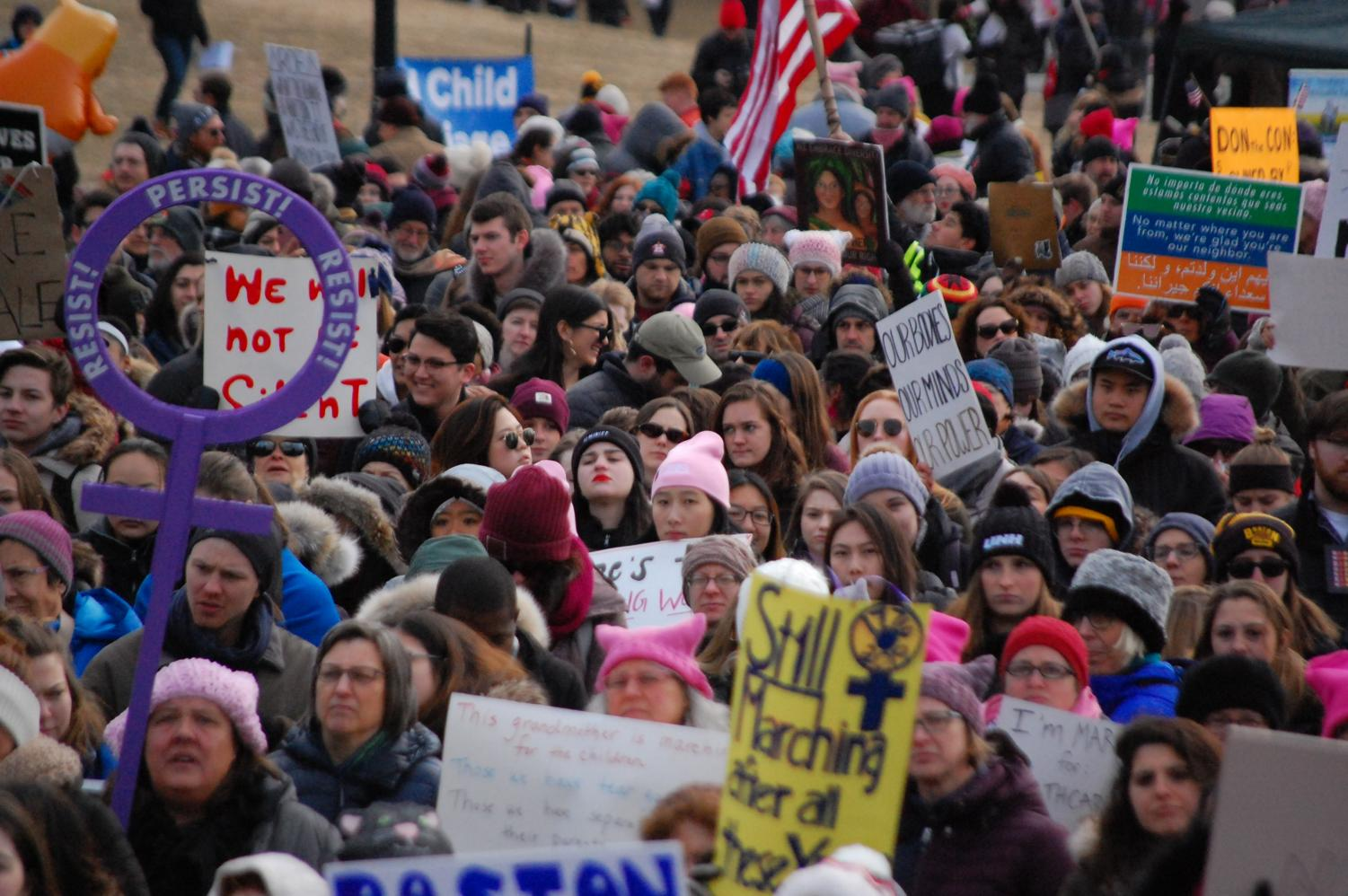 Around 10,000 people gathered in the Boston Common on Saturday as numerous civil rights activists spoke at the third Boston Women's March, headlined by Representative Ayanna Pressley.