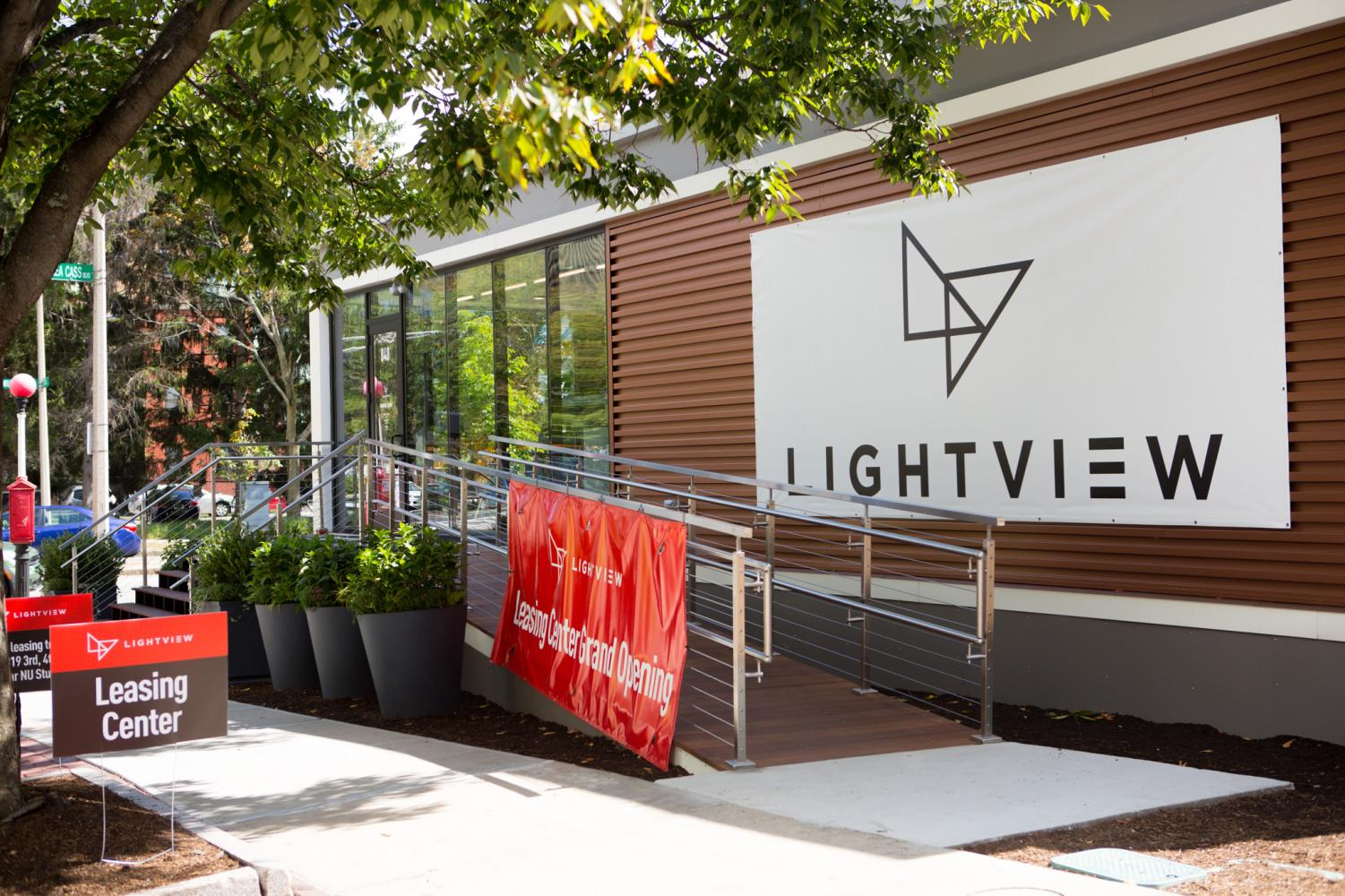 The LightView office at 840 Columbus Ave. allows students to tour a model apartment.