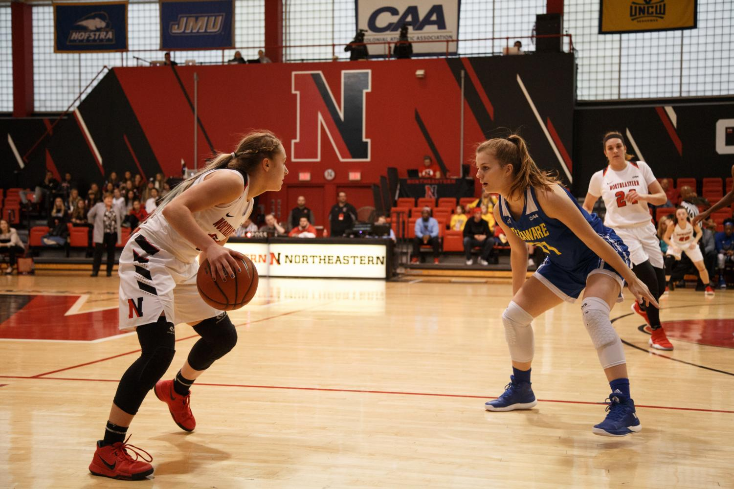 Sophomore guard Stella Clark looks to take on a defender in a game from last season against Delaware. / File photo by Catherine Argyrople.