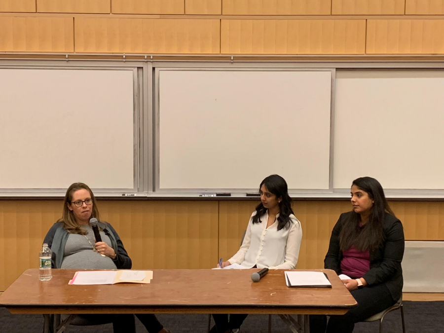Heather Ames Versace (left) discusses gender equality in the STEM field with moderator Rishika Dawkar (center).