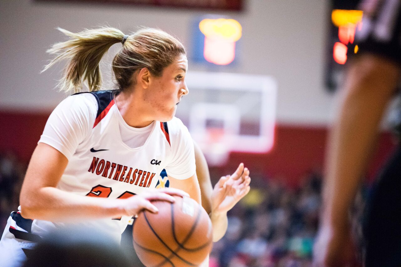 Senior forward Gabby Giacone attacks off the dribble in a game from last season. / File photo by Alex Melagrano.