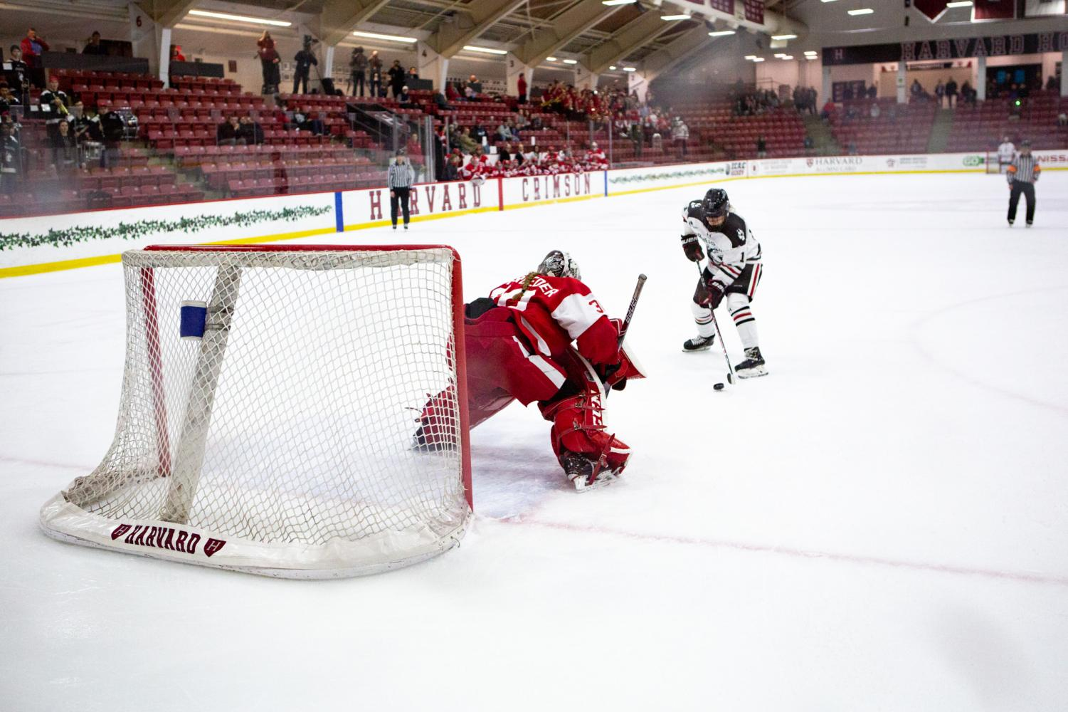 Sophomore forward Alina Mueller carries the puck during a shootout vs BU last year.