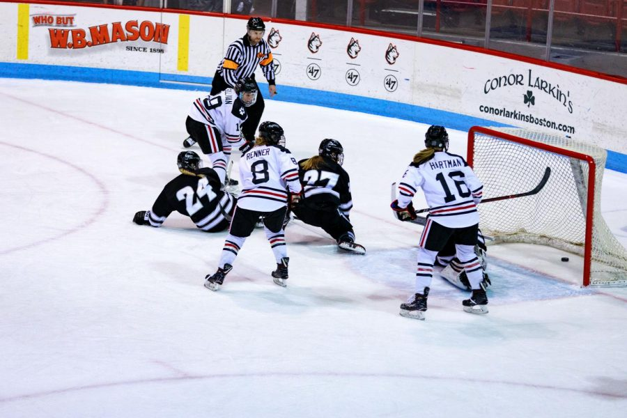Senior forward Tori Sullivan (19) scores her fifth goal of the season and Northeastern's second goal of the game Sunday against Providence.