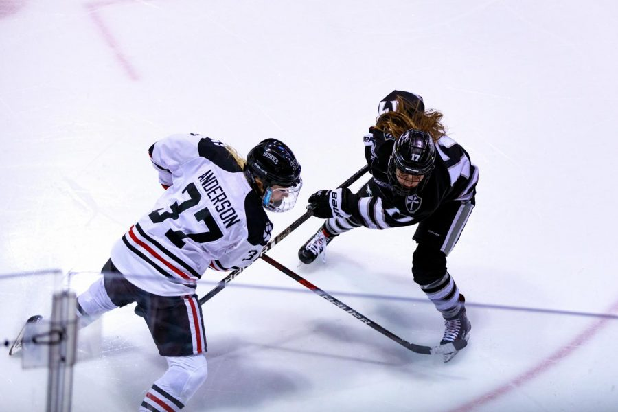 Anderson makes a move to get past a defender in a game against Providence Feb. 17.