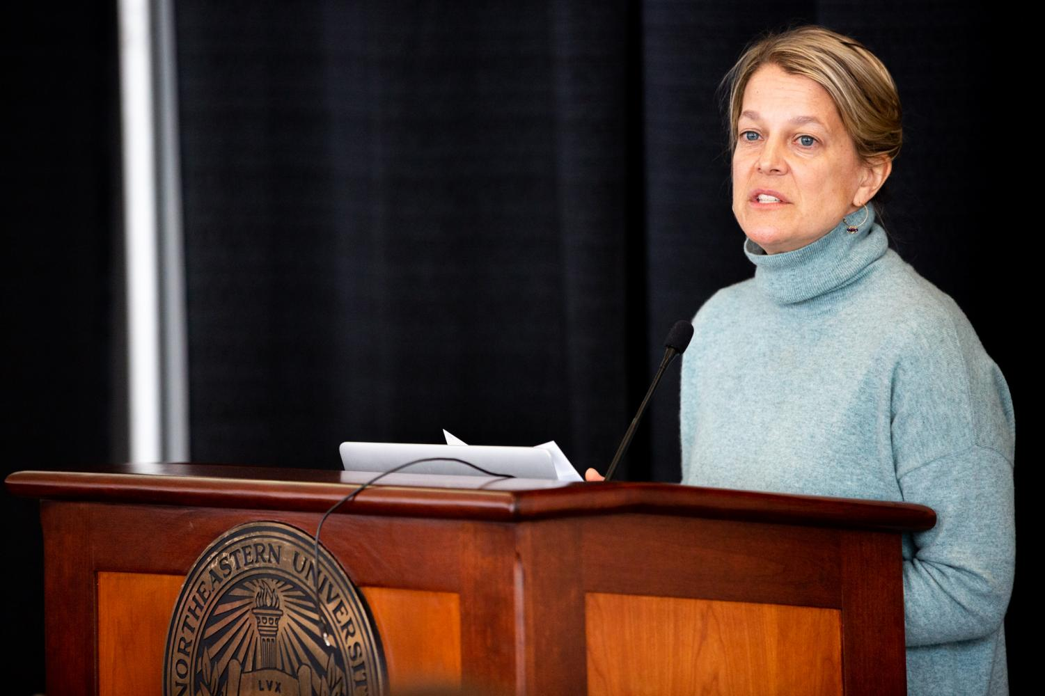 """Bethany Wiggin presents at the Northeastern University """"Climate Change/Crisis/Creativity"""" conference."""