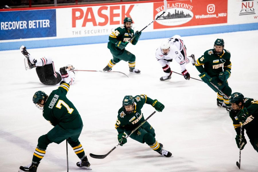 Chaos reins in on the ice for a moment during Northeastern's 4-1 win Friday night.