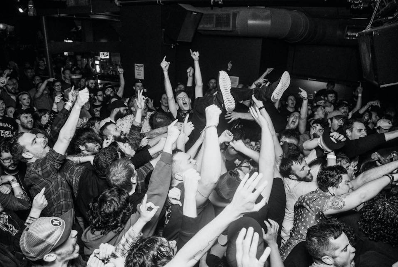 A crowd goes wild at Great Scott. The venue is known for attracting college students for local concerts every night.