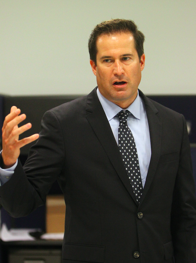 Seth Moulton, who represents Massachusetts sixth congressional district, addresses a crowd of constituents in Salem. Moulton announced hes considering a run for president.