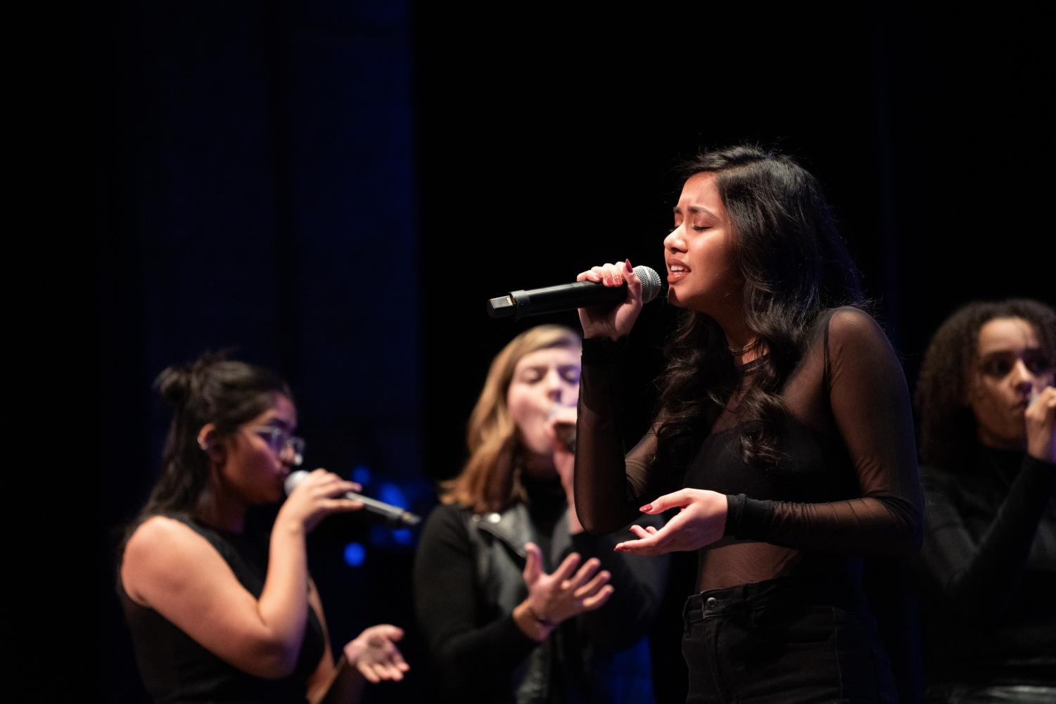 Gayathri Raj performs with Pitch, Please! Jan. 18 at All-Cappella in Blackman Auditorium.