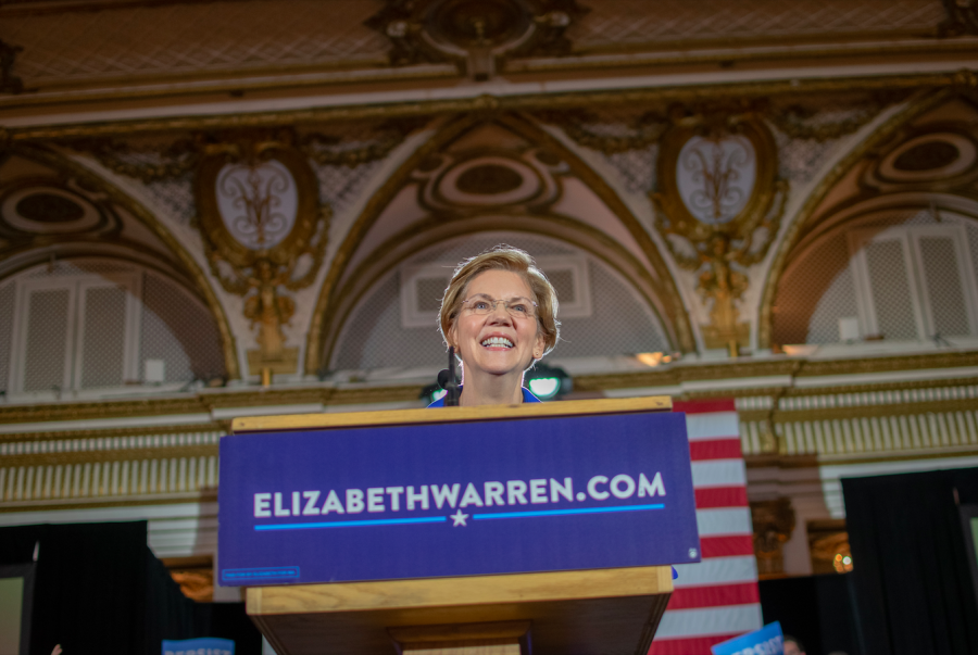 Elizabeth Warren celebrates her re-election to the U.S. Senate at the Fairmont  Copley Plaza in 2018.